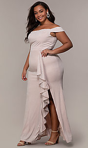 Image of off-shoulder long plus prom dress with ruffles. Style: LP-25178P Detail Image 3