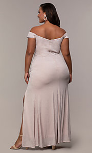 Image of off-shoulder long plus prom dress with ruffles. Style: LP-25178P Back Image