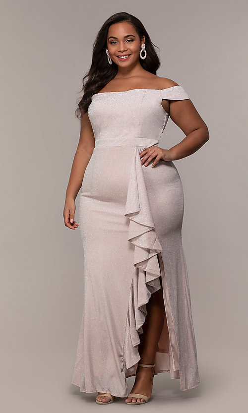 Image of off-shoulder long plus prom dress with ruffles. Style: LP-25178P Front Image