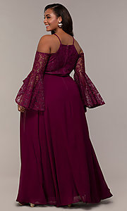 Image of cold-shoulder lace-bodice long plus-size prom dress. Style: LP-25858P Back Image