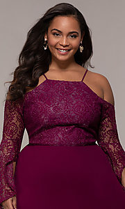 Image of cold-shoulder lace-bodice long plus-size prom dress. Style: LP-25858P Detail Image 1