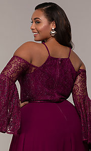 Image of cold-shoulder lace-bodice long plus-size prom dress. Style: LP-25858P Detail Image 2