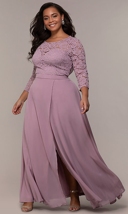 Image of faux-wrap 3/4-sleeve lace-bodice plus prom dress. Style: LP-27698P Front Image