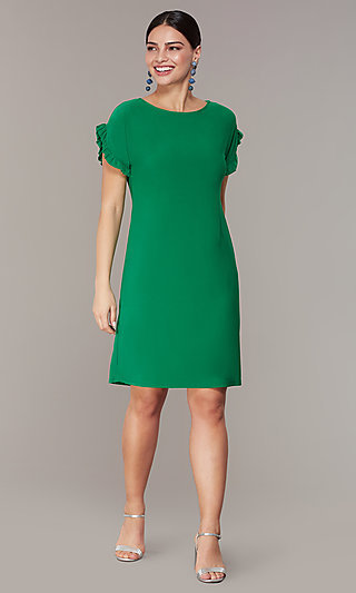 Short Green Shift Wedding-Guest Dress with Sleeves