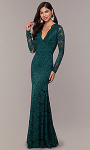 Image of long-sleeve floor-length lace prom dress. Style: CL-47136 Front Image