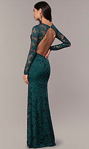 Image of long-sleeve floor-length lace prom dress. Style: CL-47136 Back Image