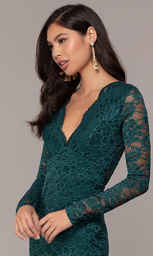 Image of long-sleeve floor-length lace prom dress. Style: CL-47136 Detail Image 1