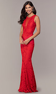 Image of long lace illusion-bodice formal prom dress. Style: CL-46815 Detail Image 1