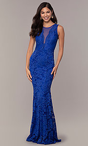 Image of long lace illusion-bodice formal prom dress. Style: CL-46815 Front Image