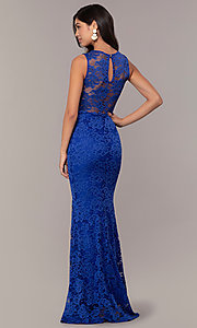 Image of long lace illusion-bodice formal prom dress. Style: CL-46815 Back Image