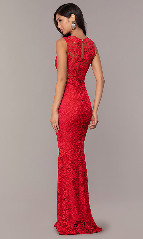 Image of long lace illusion-bodice formal prom dress. Style: CL-46815 Detail Image 2