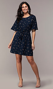 Image of short floral-print party dress with short sleeves. Style: AS-A139547A31 Detail Image 3