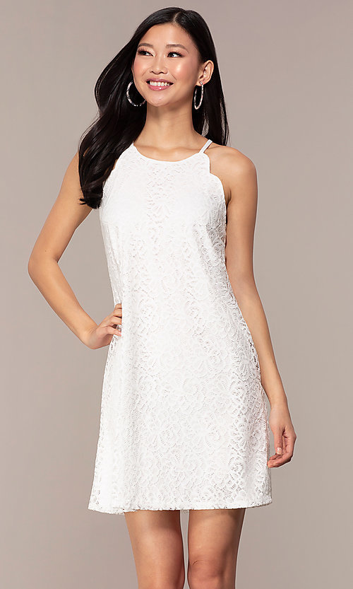Image of short lace shift graduation white party dress. Style: AS-A46914A55 Front Image