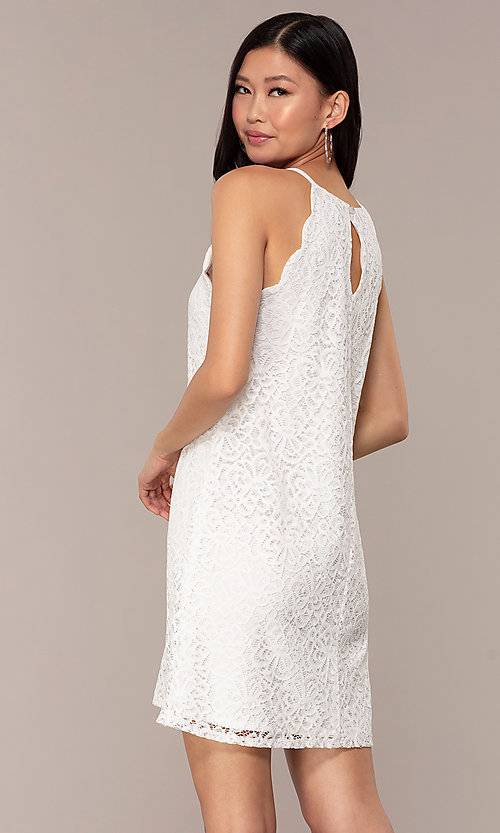 Image of short lace shift graduation white party dress. Style: AS-A46914A55 Back Image