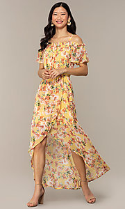 Image of floral-print high-low casual party dress. Style: AS-A120095F61 Front Image