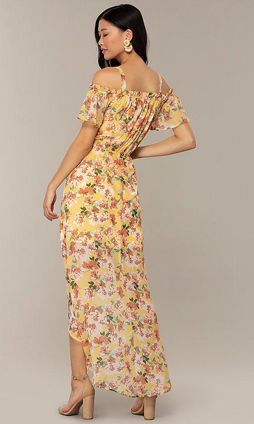 Image of floral-print high-low casual party dress. Style: AS-A120095F61 Back Image