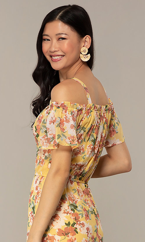 Image of floral-print high-low casual party dress. Style: AS-A120095F61 Detail Image 2