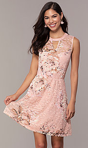 Image of short lace floral-print graduation party dress. Style: AS-A889206B84R Front Image