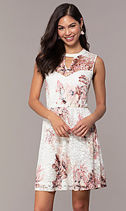 Image of short lace floral-print graduation party dress. Style: AS-A889206B84R Detail Image 4
