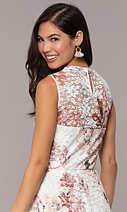Image of short lace floral-print graduation party dress. Style: AS-A889206B84R Detail Image 7