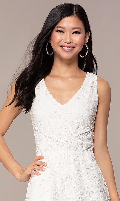 Image of off-white short v-neck lace graduation dress. Style: AS-A16644C11 Detail Image 1