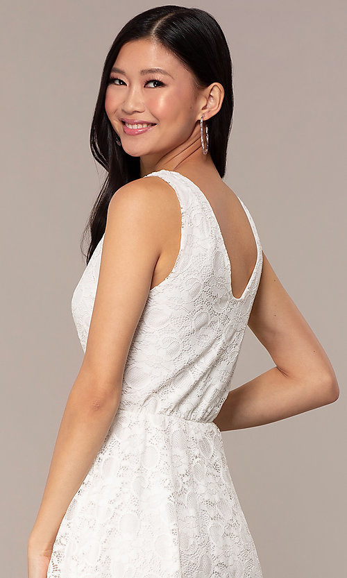 Image of off-white short v-neck lace graduation dress. Style: AS-A16644C11 Detail Image 2
