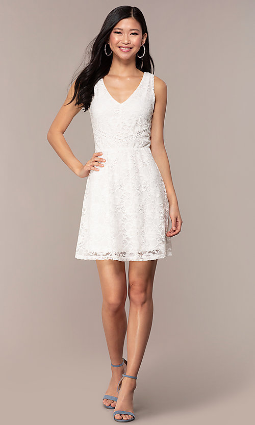 Image of off-white short v-neck lace graduation dress. Style: AS-A16644C11 Detail Image 3