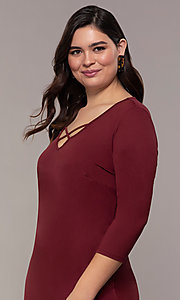 Image of three-quarter-sleeve short bodycon plus party dress. Style: AS-A1381U524X Detail Image 1