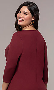 Image of three-quarter-sleeve short bodycon plus party dress. Style: AS-A1381U524X Detail Image 2