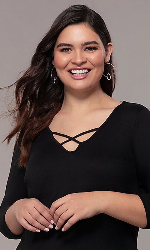 Image of three-quarter-sleeve short bodycon plus party dress. Style: AS-A1381U524X Detail Image 6