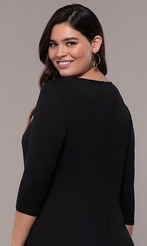 Image of three-quarter-sleeve short bodycon plus party dress. Style: AS-A1381U524X Detail Image 7