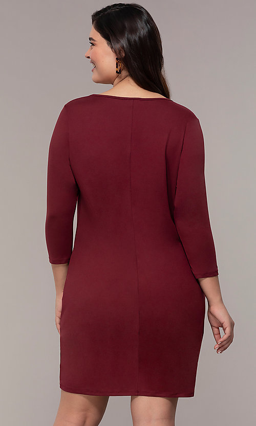 Image of three-quarter-sleeve short bodycon plus party dress. Style: AS-A1381U524X Back Image