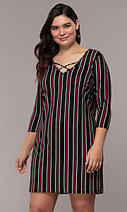 Image of striped 3/4-sleeve short shift plus party dress. Style: AS-A1381U01E27X Front Image