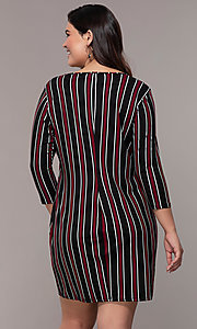 Image of striped 3/4-sleeve short shift plus party dress. Style: AS-A1381U01E27X Back Image
