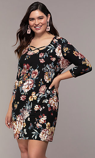 Short 3/4 Sleeve Floral Print Party Dress