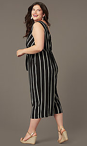 Image of cute striped party jumpsuit in plus sizes. Style: AS-A121347A40X Back Image