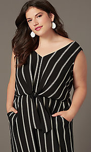 Image of cute striped party jumpsuit in plus sizes. Style: AS-A121347A40X Detail Image 1
