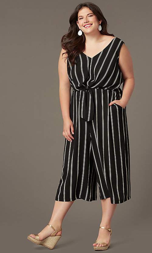 Image of cute striped party jumpsuit in plus sizes. Style: AS-A121347A40X Front Image