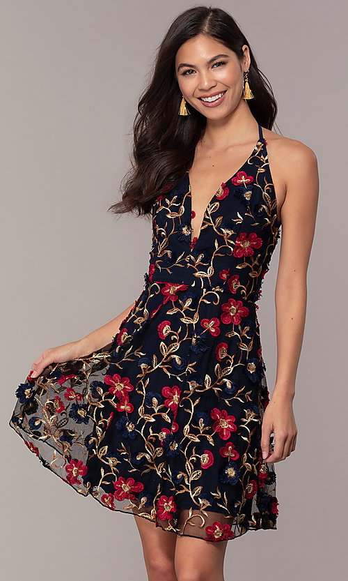 Short V Neck Halter Wedding Guest Party Dress