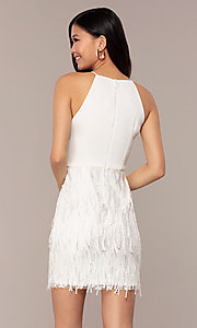 Image of short high-neck sleeveless white graduation dress. Style: MT-9407-W Back Image