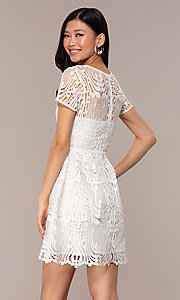 Image of short white lace graduation dress with sleeves. Style: MT-9655 Back Image