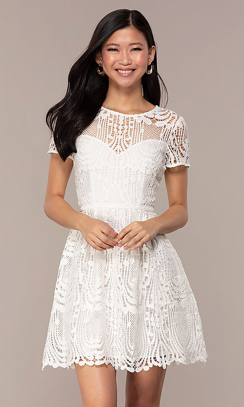 Image of short white lace graduation dress with sleeves. Style: MT-9655 Front Image