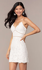 Image of white lace short v-neck graduation dress. Style: MT-9859 Front Image