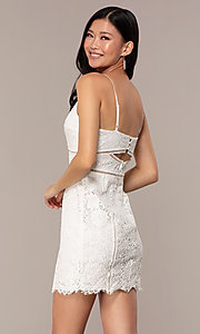 Image of white lace short v-neck graduation dress. Style: MT-9859 Back Image