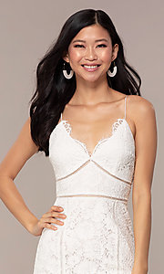 Image of white lace short v-neck graduation dress. Style: MT-9859 Detail Image 1