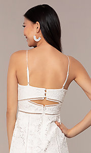 Image of white lace short v-neck graduation dress. Style: MT-9859 Detail Image 2