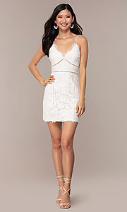 Image of white lace short v-neck graduation dress. Style: MT-9859 Detail Image 3