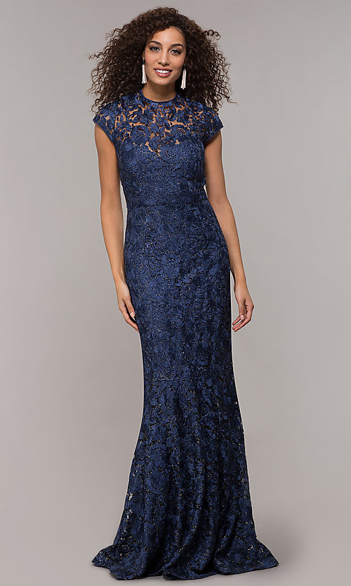 Image of long glitter-lace mother-of-the-bride dress. Style: JU-MA-261032 Front Image