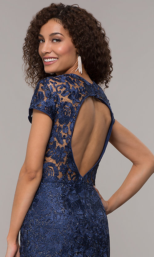 Image of long glitter-lace mother-of-the-bride dress. Style: JU-MA-261032 Detail Image 2