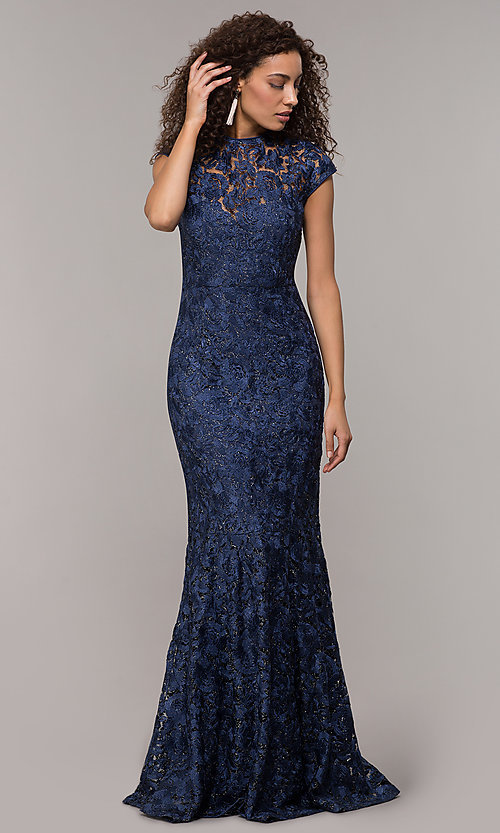 Image of long glitter-lace mother-of-the-bride dress. Style: JU-MA-261032 Detail Image 3
